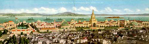 Click to Enlarge Image:  Panorama of Panama Pacific International Exposition during the day