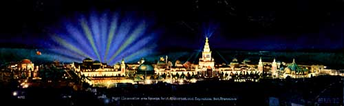 Click to Enlarge Image:  Panorama of Panama Pacific International Exposition at Night